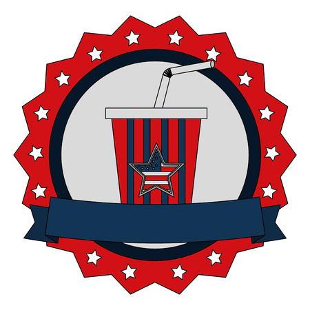 soda cup beverage with american flag emblem vector illustration Illustration