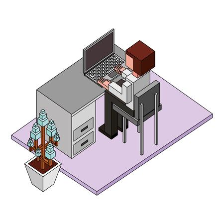 view back businessman working on laptop at desk isometric vector illustration Illustration