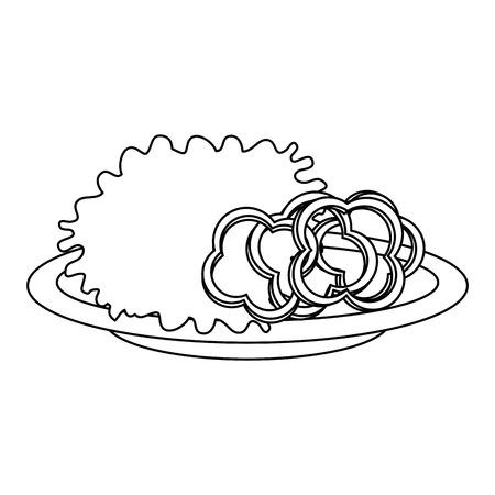delicious vegetable salad on plate vector illustration design