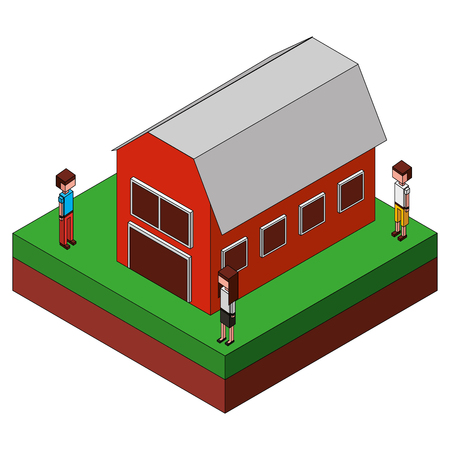people looking at an isometric barn farm vector illustration