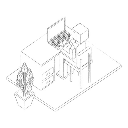 view back businessman working on laptop at desk isometric vector illustration sketch