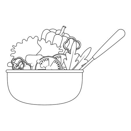 vegetables in kitchen bowl with ladle vector illustration design