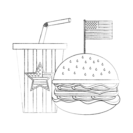 hamburger soda with flag american independence day vector illustration sketch Çizim