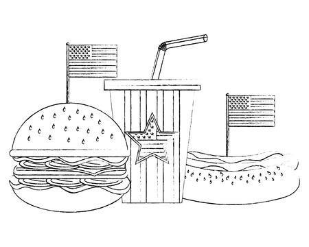 burger hotdog and soda with flag american vector illustration sketch