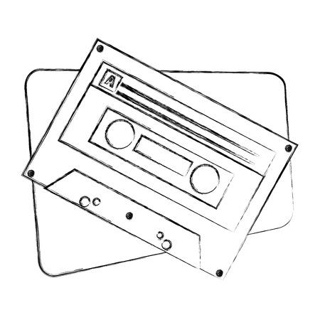 cassette audio music vintage image vector illustration sketch