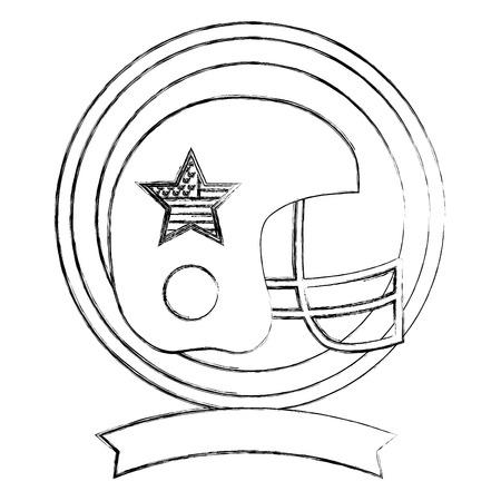 american football helmet sport emblem vector illustration sketch