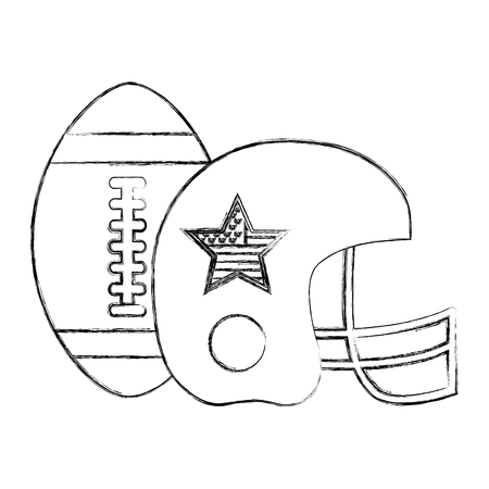 american football helmet and ball vector illustration sketch