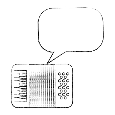 accordion instrument musical speech bubble vintage style vector illustration sketch Archivio Fotografico - 102109888