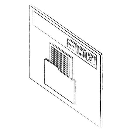 website page folder file document isometric vector illustration sketch