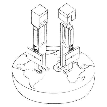 businesscouple in the world isometric avatars characters vector illustration design Foto de archivo - 102021282