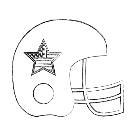 sport helmet protection american flag star vector illustration sketch
