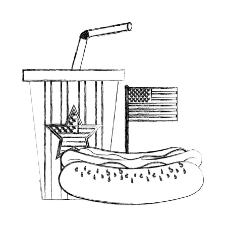 hot dog and cola cup with american flag vector illustration sketch