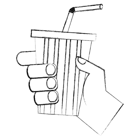 hand holding soda cup with straw vector illustration sketch