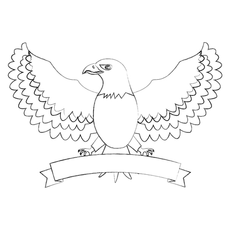 american eagle with usa flag ribbon mascot vector illustration sketch