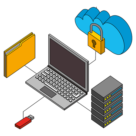 laptop connected usb cloud database and folder isometric vector illustration Archivio Fotografico - 102109936