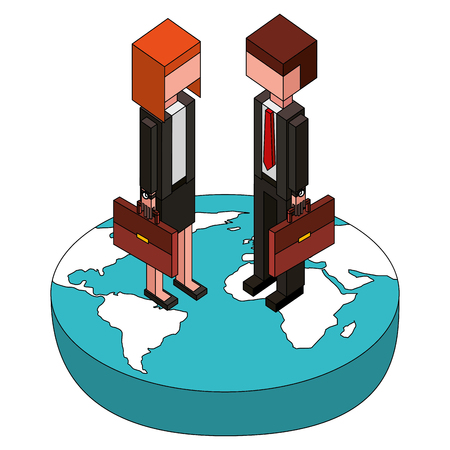businessman and businesswoman holding briefcase on world isometric vector illustration Çizim
