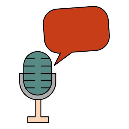 microphone speech bubble vintage style vector illustration Illustration