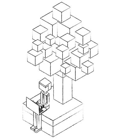 Hombre de negocios trabajando con ordenador portátil en el carácter virtual ilustración vectorial de diseño de avatar Foto de archivo - 102021318