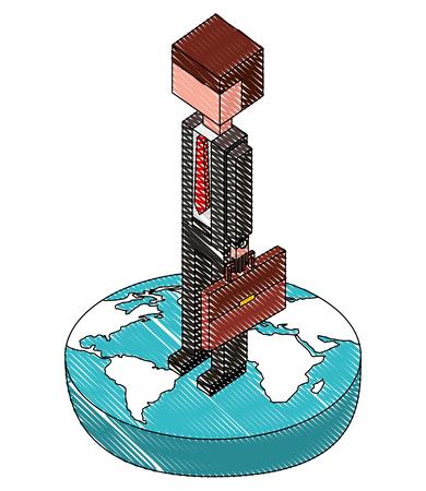 Hombre de negocios en el mundo avatar carácter ilustración vectorial diseño isométrico Foto de archivo - 102021322