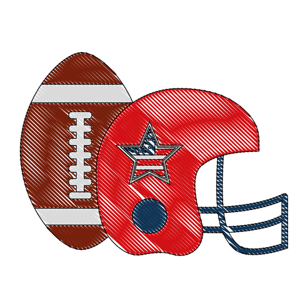 american football helmet and balloon with USA flag vector illustration design