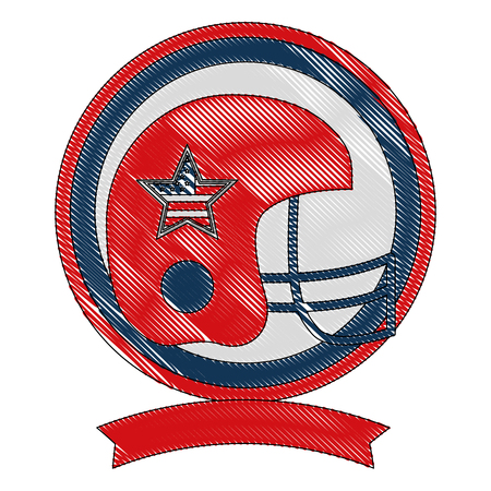 american football helmet with USA flag vector illustration design