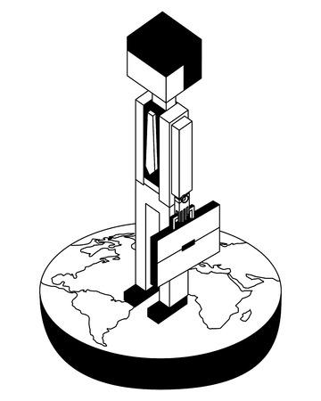 Hombre de negocios en el mundo avatar carácter ilustración vectorial diseño isométrico Foto de archivo - 102021350