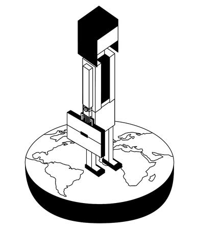 Empresaria en el mundo avatar carácter de ilustración vectorial de diseño isométrico Foto de archivo - 102109846