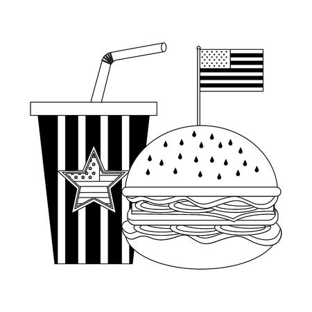 delicious hamburger with USA flag and soda vector illustration design