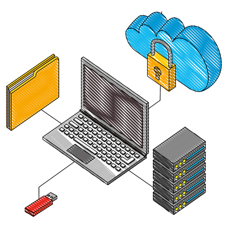 laptop computer with network isometric icons vector illustration Illustration