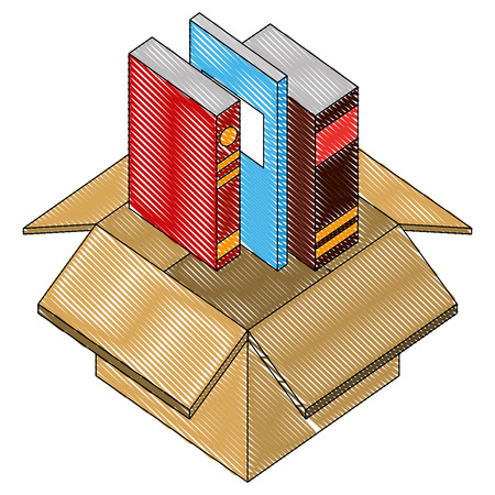 text books in box isometric icon vector illustration design  イラスト・ベクター素材