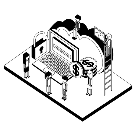 people with laptop cloud storage money security isometric vector illustration Ilustrace