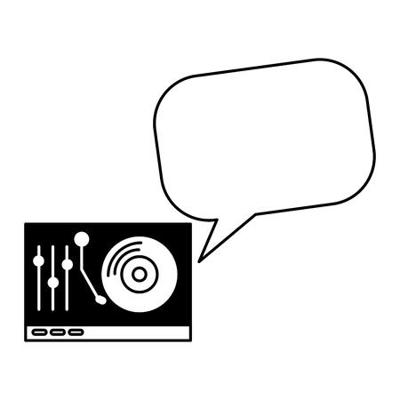 turntable vinyl speech bubble vintage style vector illustration Illustration