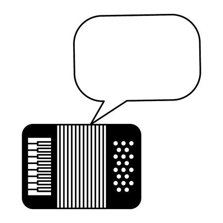 accordion instrument musical speech bubble vintage style vector illustration