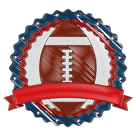 USA emblem with american football balloon vector illustration design