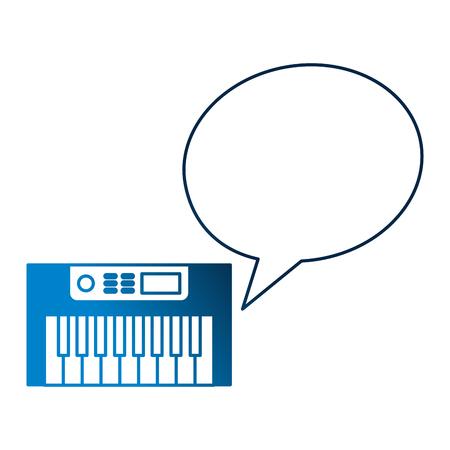 synthesizer speech bubble vintage style vector illustration