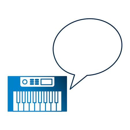 synthesizer speech bubble vintage style vector illustration