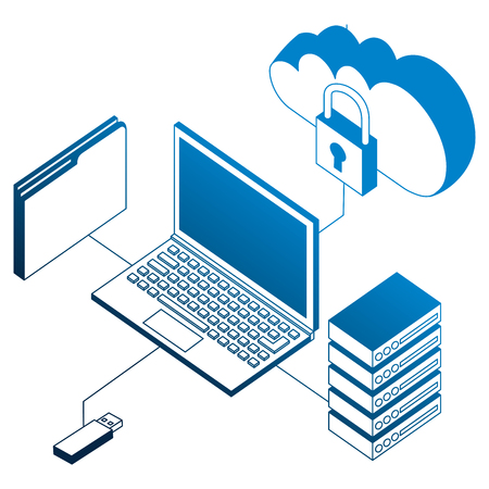 laptop connected usb cloud database and folder isometric vector illustration