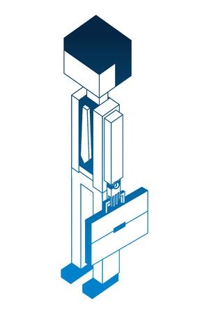 businessman holding briefcase isometric image vector illustration Standard-Bild - 102109713