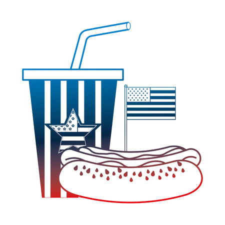 hot dog and cola cup with american flag vector illustration