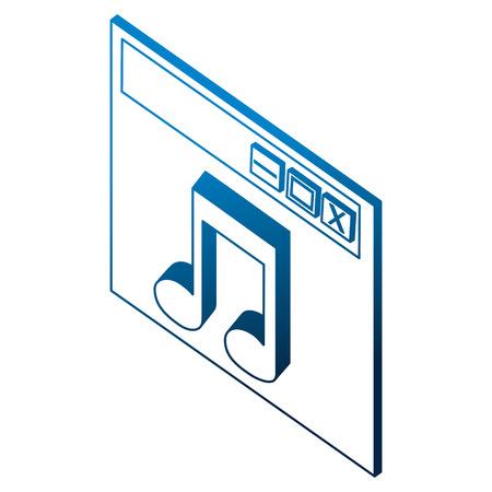 website page music audio isometric vector illustration