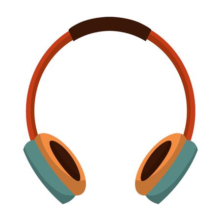 earphone device retro music vector illustration design
