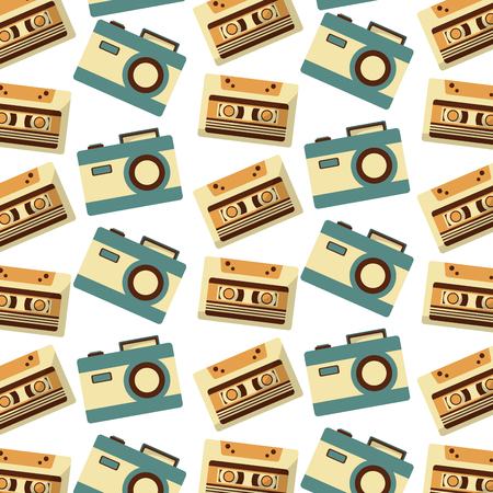 cassette and camera photographic music retro pattern vector illustration design