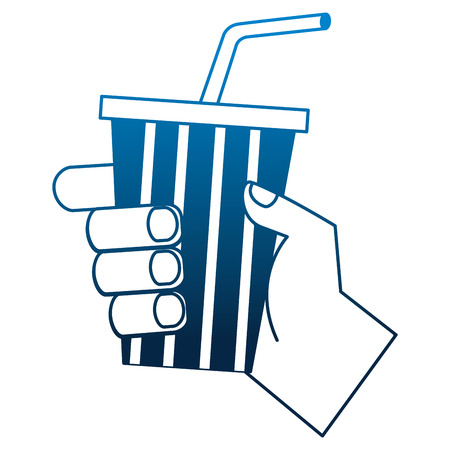 hand holding soda cup with straw vector illustration