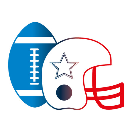 american football helmet and ball vector illustration