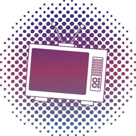 retro television vintage device halftone classic vector illustration Ilustração
