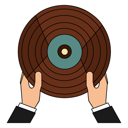 hands with vinyl disk retro music vector illustration design