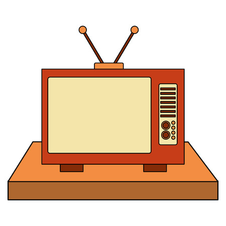 shelf with tv old retro style vector illustration design