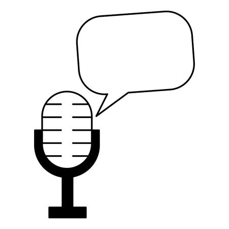 microphone speech bubble vintage style vector illustration Ilustrace