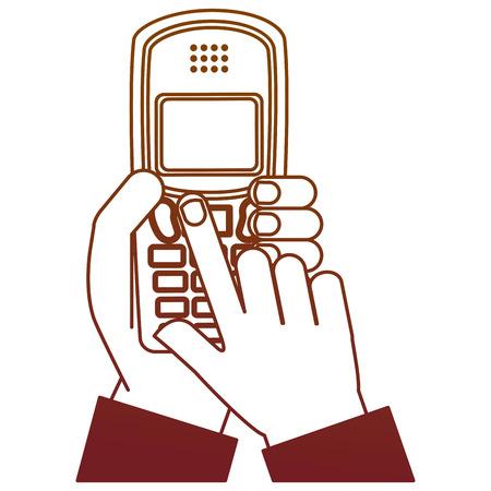 hand holding cellphone device vintage vector illustration