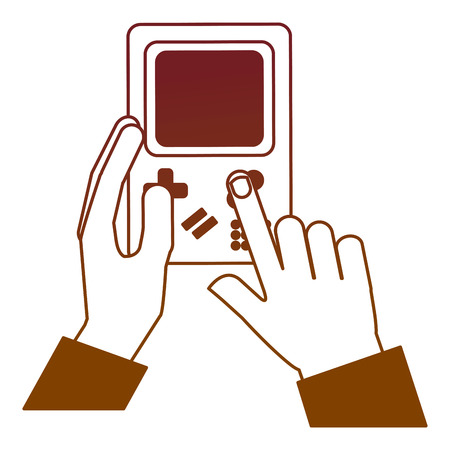 hand holding game console portable device vintage vector illustration